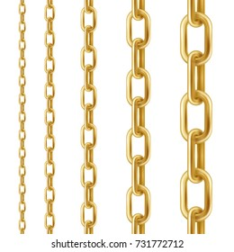 Golden chain. Set of vector design elements