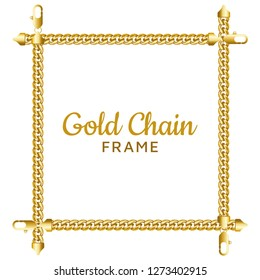 Golden chain square border frame. Rectangle jewellery wreath shape. Realistic vector illustration isolated on a white background.