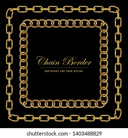 Golden Chain Square Border Frame. Rectangle Border with golden color. Jewelry Design. Vector illustration.