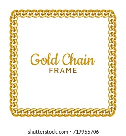 Golden chain square border frame. Rectangle wreath shape. Jewelry design, text frame. Realistic vector illustration isolated on a white background.