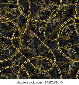 Golden Chains Baroque Jewelry Seamless Vector Pattern. Gold Accessory Backdrop for fashion Art Design. Decorative Trendy Bandanna Scarf
