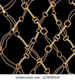 Golden Chains Fashion Seamless Pattern. Fabric Background with Gold Chain. Luxury Design with Jewelry Elements for Textile, Wallpaper. Vector illustration