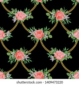 Golden Chains and Flowers Fashion Seamless Pattern.