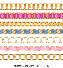 Golden chains set with colorful threaded fabric ribbon vector brush. Good for necklace, bracelet, jewelry accessory design.