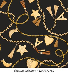 Golden Chains, Straps and Charms with Diamonds Seamless Pattern. Fashion Fabric Background with Gold, Gemstones and Jewelry Elements for Textile, Print. Vector illustration
