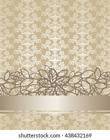 Golden champagne colour victorian style pattern floral book cover. This image is a vector illustration.
