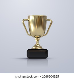 Golden champion cup isolated on white background. Vector realistic 3d illustration. Championship trophy. Sport award. Victory concept