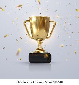Golden champion cup isolated on white background. Vector realistic 3d illustration. Championship trophy with glittering confetti particles. Sport tournament award. Victory concept