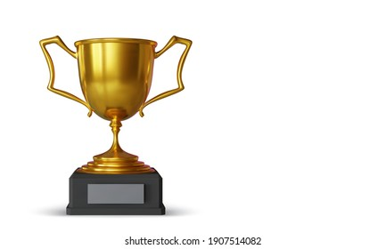 Golden champion cup with shadow isolated on white background. Sport tournament award. Vector illustration