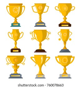 Golden champion trophies collection isolated on white background vector illustration. Winner award labels, first place cups of sport competition, success and victory prize emblems in flat style.