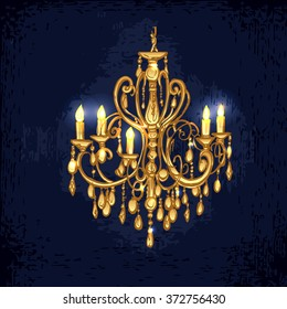 Golden chandelier. Hand drawn chandelier in dark room. Vector chandelier. Chandelier with candles. Vector illustration