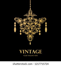 Golden chandelier logo on black backdrop. Vector rich and luxury emblem. Lampshade icon logotype