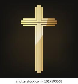 Golden Christian cross icon. Vector illustration. Golden Christian cross isolated on dark background.