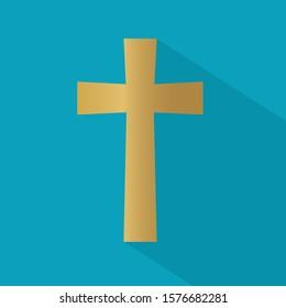 golden christian cross icon- vector illustration
