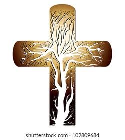 golden christian cross on a white background - vector illustration
