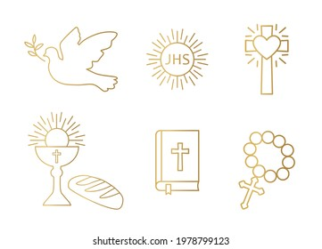 golden christianity icon set; dove, holy communion, cross, chalice and bread, bible and rosary - vector illustration
