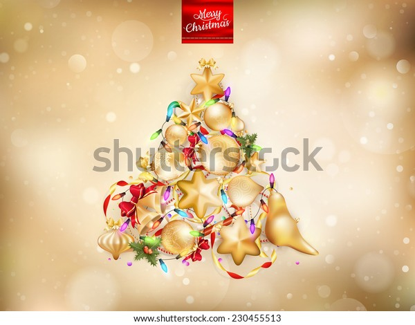 Golden Christmas background. EPS 10 vector file included