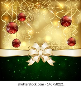 Golden Christmas background with red baubles and beige bow, illustration.