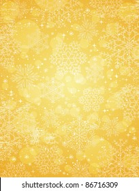 golden christmas background with snowflakes, vector illustration