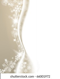 Golden Christmas background with white snowflakes and place for your text