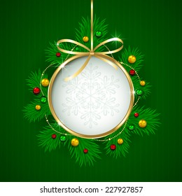 Golden Christmas ball with fir tree branches on green background, illustration.