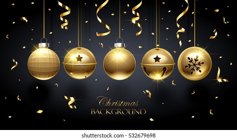 Golden Christmas balls and confetti on dark background. Vector illustration