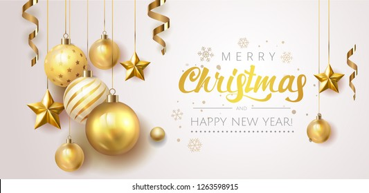 Golden Christmas  balls light white background. Festive xmas decoration gold glass christmas balls and glossy snowflake, stars, hanging on the ribbon. Vector illustration banner design template EPS 10
