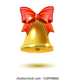 Golden christmas bell with a red bow on a white background
