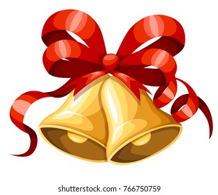 Golden Christmas bell with red ribbon and bow. Xmas decoration. Jingle bells icon. Vector illustration isolated on white background. Web site page and mobile app design