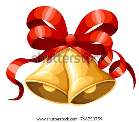 golden christmas bell red ribbon bow のベクター画像素材