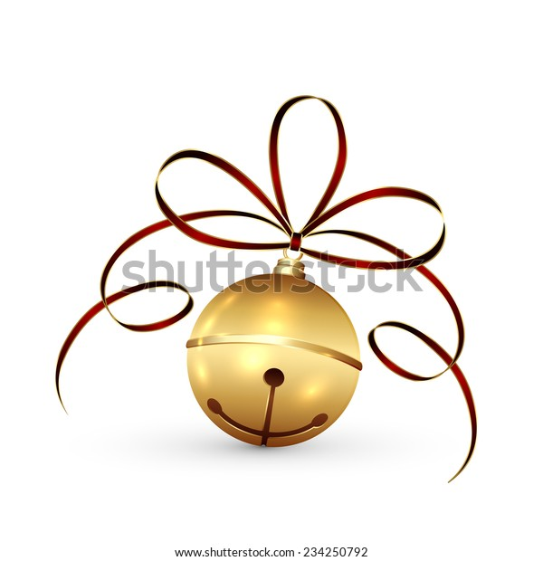 Golden Christmas bell with tinsel and bow isolated on white background, illustration.