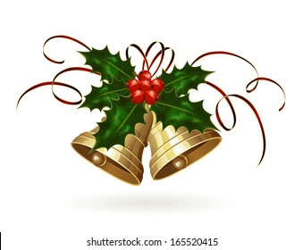 Golden Christmas bells with Holly berries and tinsel, illustration.
