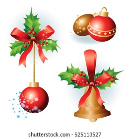 golden Christmas bells with holly leaves on a white background
