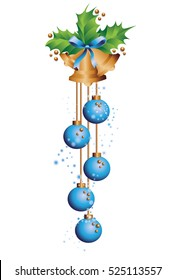 golden Christmas bells with holly leaves and blue New year balls on a white background