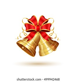 Golden Christmas bells with red bow isolated on white background, holiday decoration, illustration.