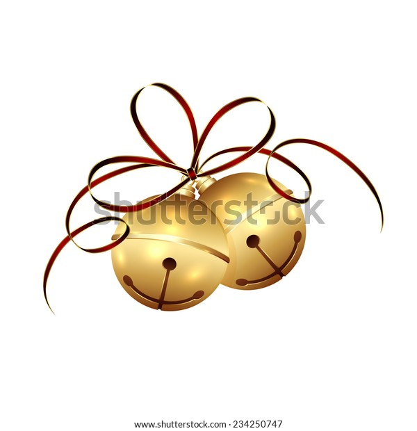 Golden Christmas bells with tinsel and bow isolated on white background, illustration.