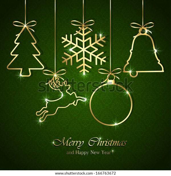 Golden Christmas elements on seamless green background, illustration.