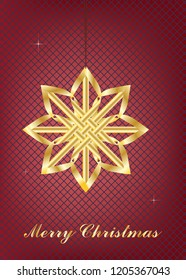 Golden Christmas Eve star on a red lattice background