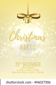 Golden Christmas party flyer with glass ball. Elegant vector illustration with snow. Beautiful background with shining sparks. Design of invitation to night club.