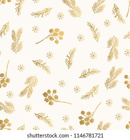 Golden Christmas pattern with branches and berries. Foil texture. Hand drawn winter design.
