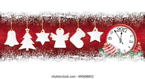 Golden christmas stickers with clock on the wooden background. Eps 10 vector file.