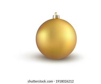 Golden christmas tree ball ornament on white background