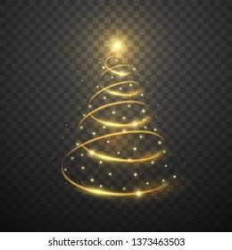 Golden christmas tree on dark transparent background