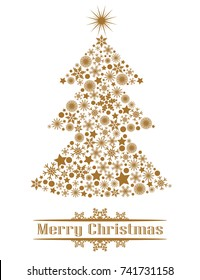 Golden Christmas tree of snowflakes and stars. Isolated object on white background, vector illustration