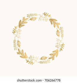 Golden Christmas wreath. Hand drawn vector illustration. Isolated on white.