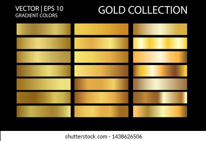 Golden chrome metallic texture vector icon set. Shiny golden brushed vector metallic gradient background for banner, ribbon, label, medal, button, money. Golden abstract background gradient template