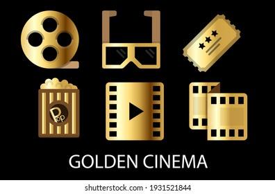 GOLDEN CINEMA set of cinema based icon type modern gold vector set.