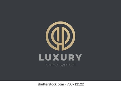 Golden Circle abstract Linear Logo design vector template. Beauty Fashion Luxury Corporate Logotype. Letter O P icon.