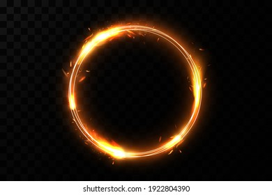Golden circle with fire effects.Light effect.Vector