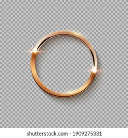 Golden circle frame for picture isolated on transparent background. Blank space for picture, painting, card or photo. 3d realistic modern template vector illustration. Simple gold ring on wall.